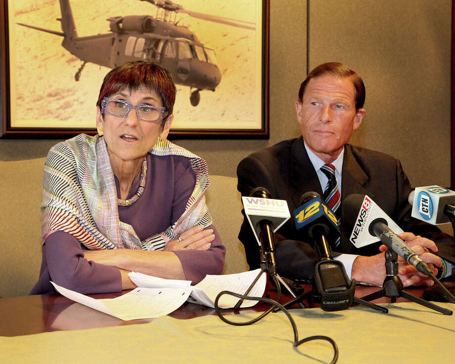 U.S. Rep. Rosa DeLauro, D-Conn., and U.S. Sen. Richard Blumenthal, D-Conn., appear in this file photo from August, when they told Sikorsky employees at the company's headquarters in Stratford that they would fight to secure defense funding to support the helicopter industry in the state. Photo: Contributed Photo / Connecticut Post Contributed