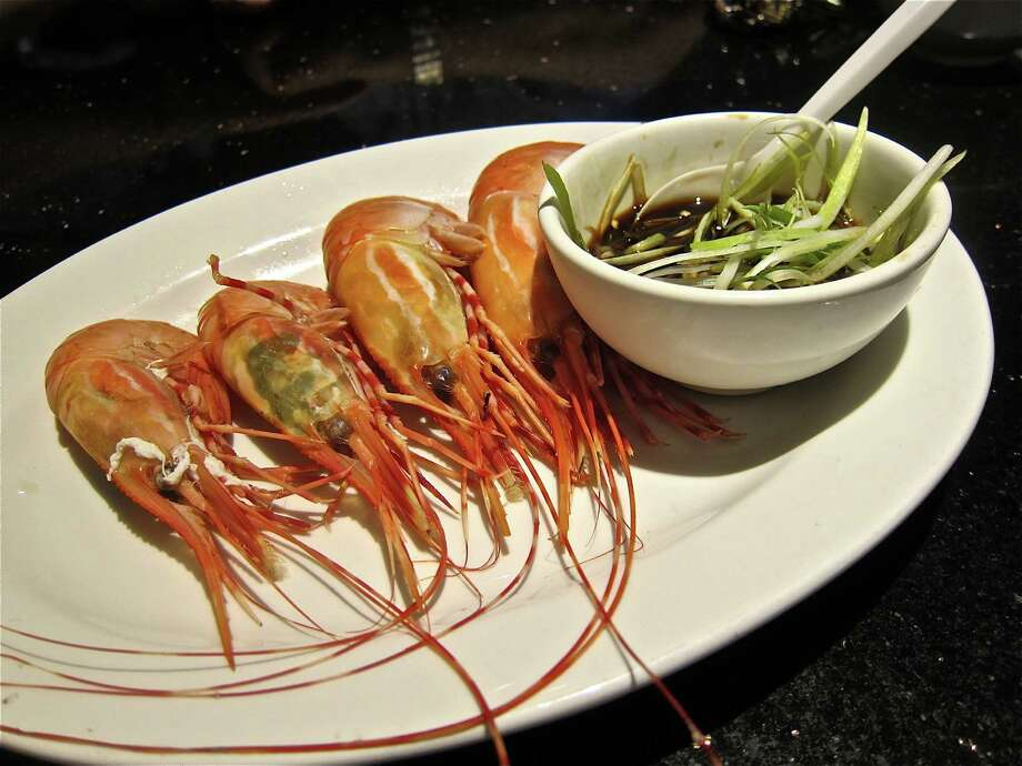 Steamed live spot prawns are a tasty highlight at Hai Cang Seafood Restaurant. Photo: Alison Cook