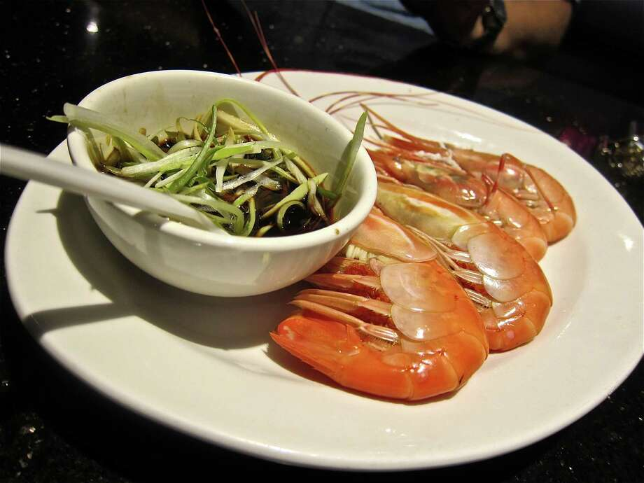 Steamed live spot prawns at Hai Cang seafood restaurant. Photo: Alison Cook