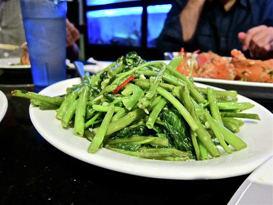 Sauteed ong choy (water spinach) with bean sauce at Hai Cang seafood restaurant. Photo: Alison Cook