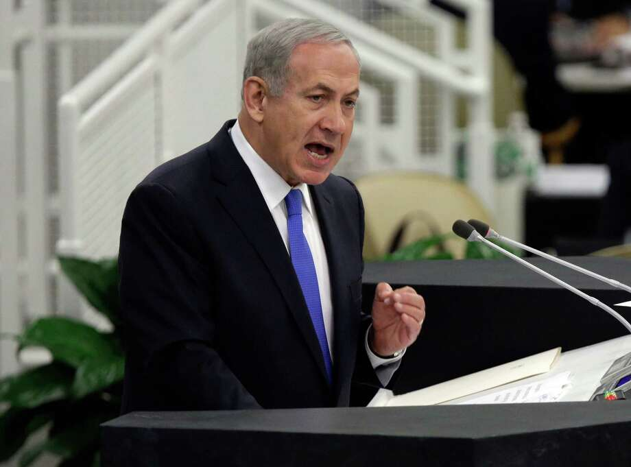 Israel's Prime Minister Benjamin Netanyahu addresses the 68th session of the United Nations General Assembly,  Tuesday, Oct. 1, 2013 at U.N. headquarters. (AP Photo/Richard Drew) Photo: Richard Drew, Associated Press / AP
