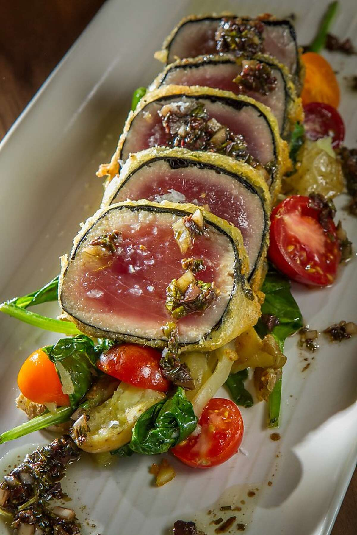 The Nori-Wrapped Ahi at Park Bistro & Bar in Lafayette, Calif., is seen on Friday, September 27th, 2013.