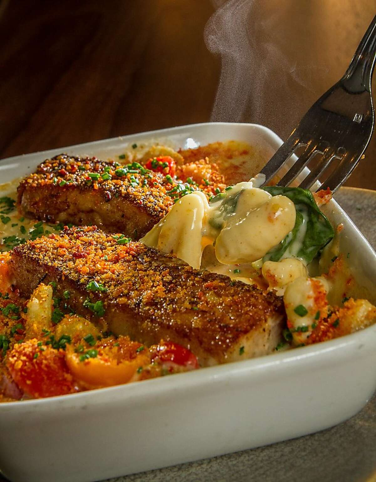 The Mac 'n' Cheese with Pork Belly at the Park Bistro & Bar in Lafayette, Calif., is seen on Friday, September 27th, 2013.