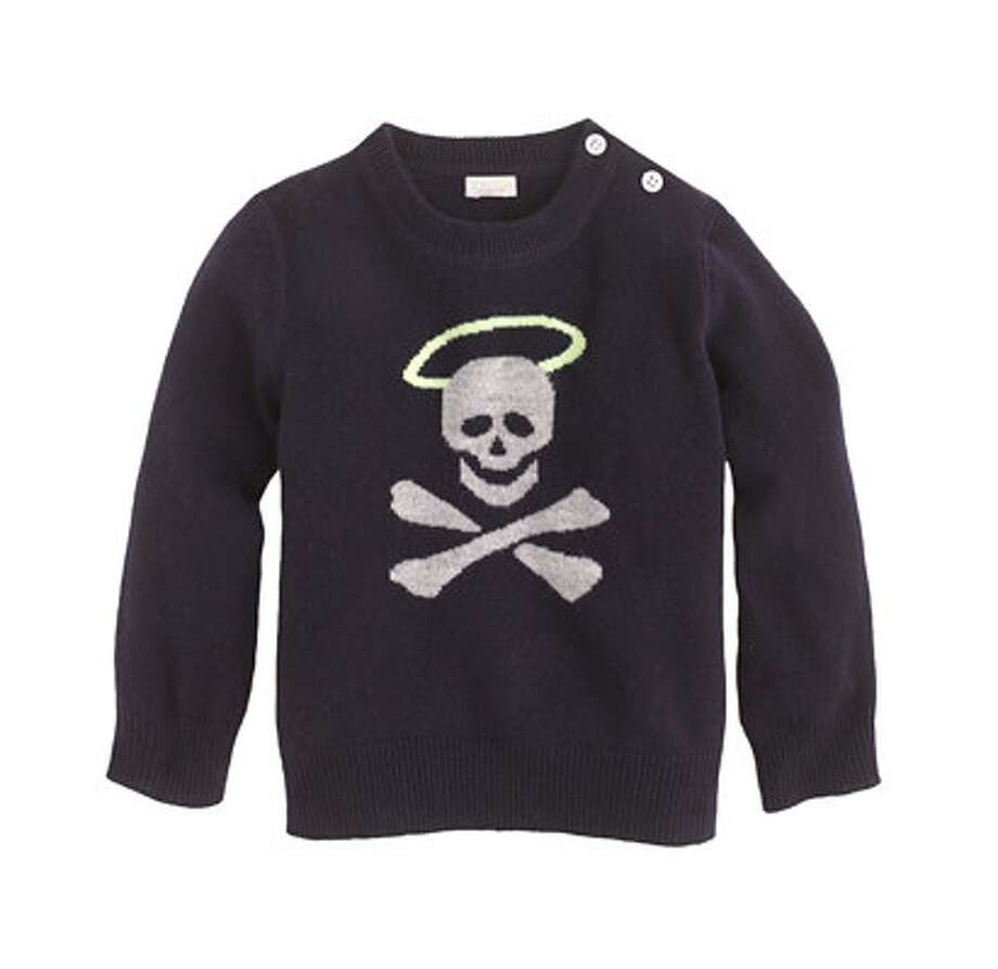 Halo-Skull Cashmere Baby Sweater, $145. A bad-boy preppy pick from J. Crew. jcrew.com