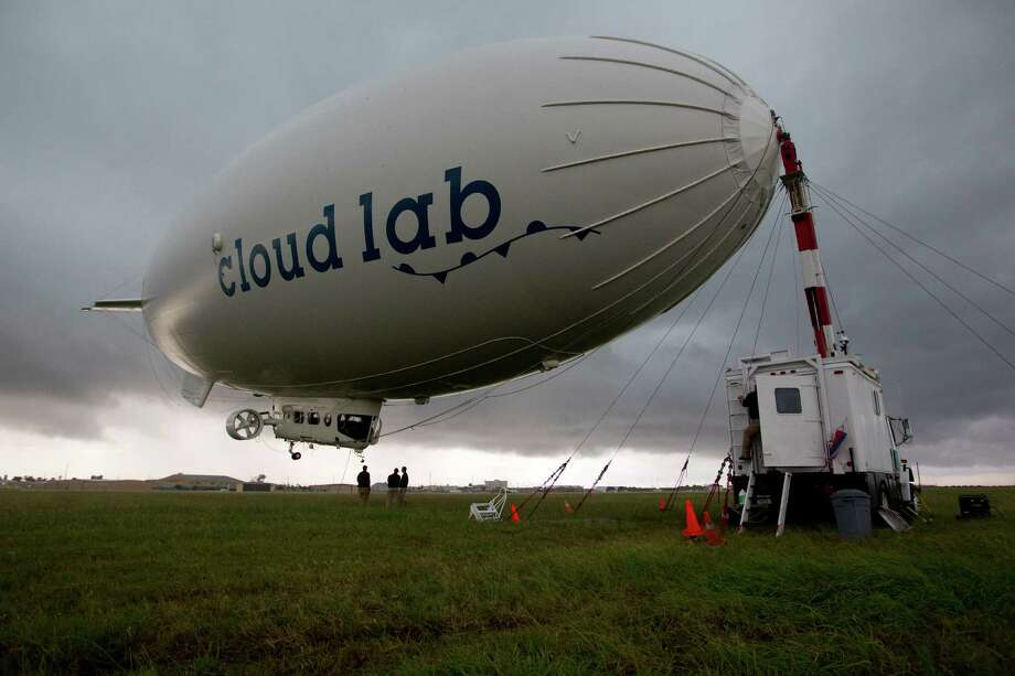 The worlds largest airship temporarily parked at Scholes International Airport as it was flying coast-to-coast across U.S. in a month-long expedition for the BBC Two series Cloud Lab Tuesday, Oct. 1, 2013, in Galveston. Photo: Johnny Hanson, Houston Chronicle / Houston Chronicle