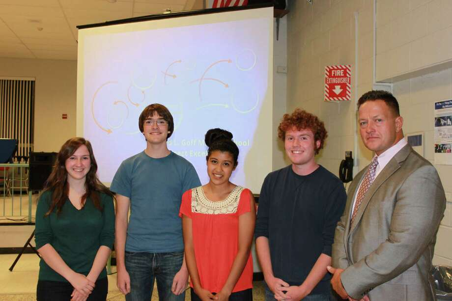 Julia Smead, Nicholas Sergay, Emily Lopez and Ryan Koster join Columbia High School Principal John Sawchuk as they are recognized on Sept. 25 by the East Greenbush Board of Education for being selected semifinalists in the 2014 National Merit Scholarship Program. The seniors have the opportunity to compete for some 8,000 National Merit Scholarships worth about $45 million, to be offered in the spring, the district said. (Submitted photo)