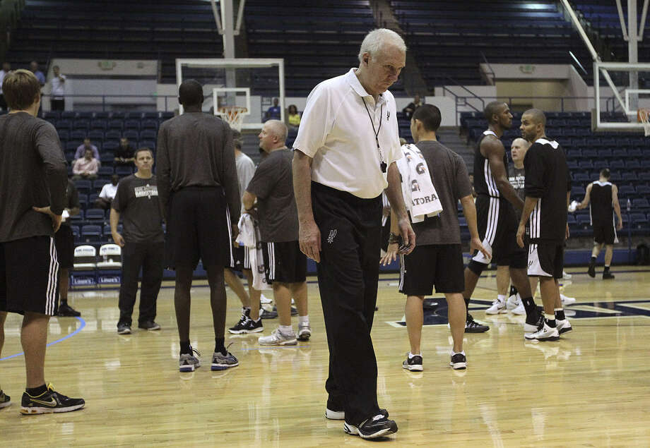 Spurs coach Gregg Popovich put his team through two practice sessions Tuesday at the U.S. Air Force Academy in Colorado. Photo: Jerry Lara / San Antonio Express-News