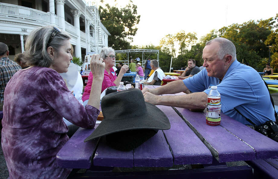 Jane Frederick and Robert Shelby are among the neighbors gathered at VFW Post 76 near downtown for the annual National Night Out event. Photo: Photos By Tom Reel / San Antonio Express-News