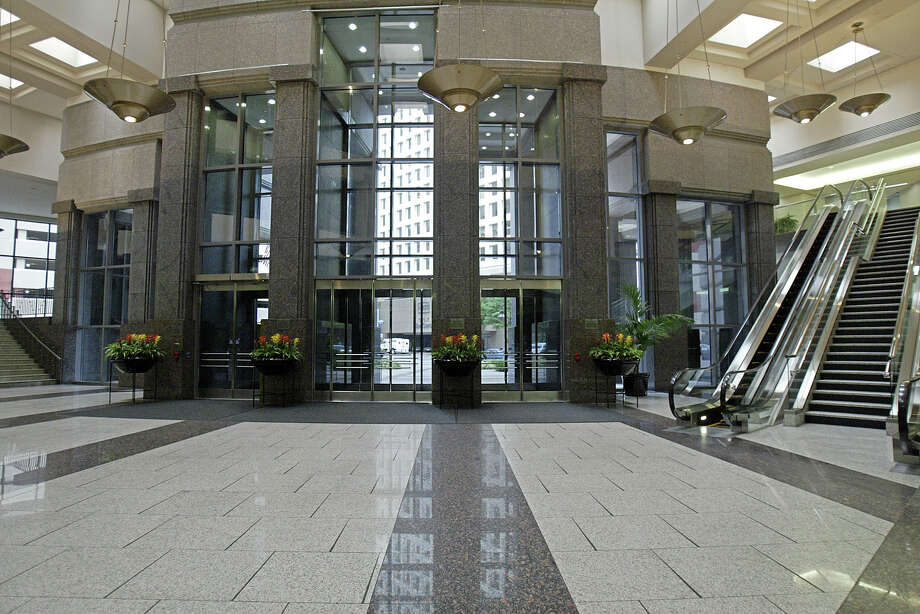 July 19, 2005  Heritage Plaza is being sold to a group out of Atlanta this week as Texaco, who was acquired by Chevron, is moving out of the building. Pictured here is the main lobby. Photo: Jessica Kourkounis, For The Chronicle / Freelance