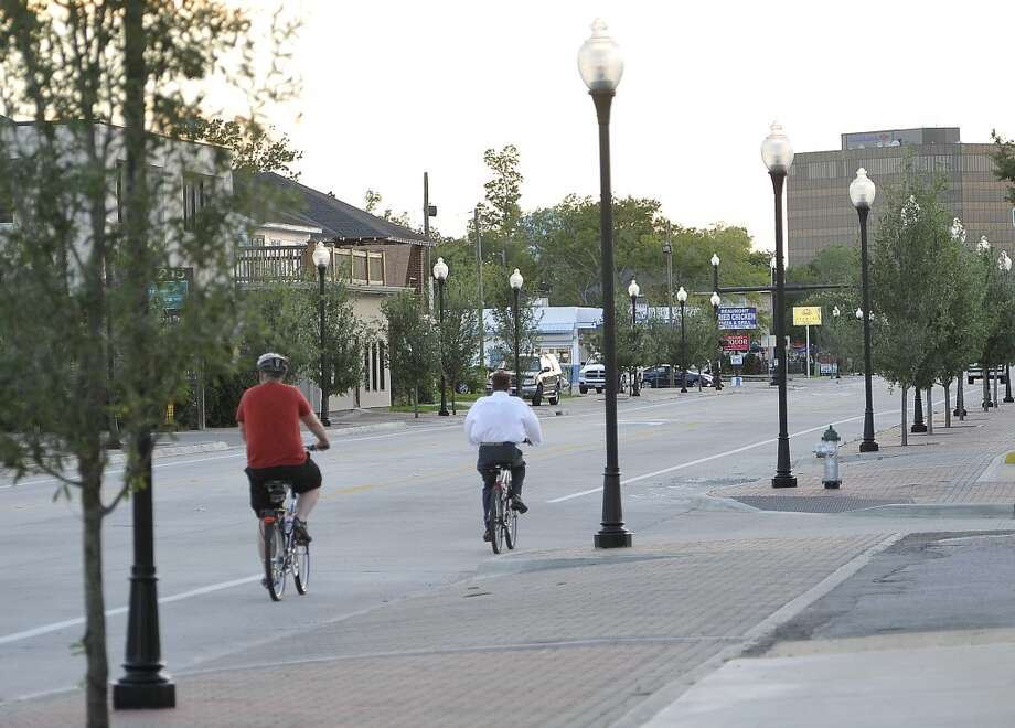 Some bicyclists could been seen riding the bike path on the new Calder Avenue. First Thursday on Calder happened Thursday May 3, 2012. Events were at Ana's Mexican Bakery, Rao's,Tacos la Bamba, LoveYoga, the Mildred Building, and Burns Antik Haus.  Dave Ryan/The Enterprise Photo: Dave Ryan/The Enterprise
