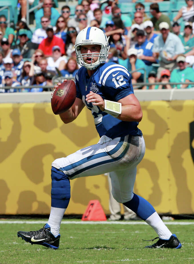 JACKSONVILLE, FL - SEPTEMBER 29:  Andrew Luck #12 of the Indianapolis Colts scrambles for yardage during the game against the Jacksonville Jaguars at EverBank Field on September 29, 2013 in Jacksonville, Florida. Photo: Sam Greenwood, Getty Images / 2013 Getty Images