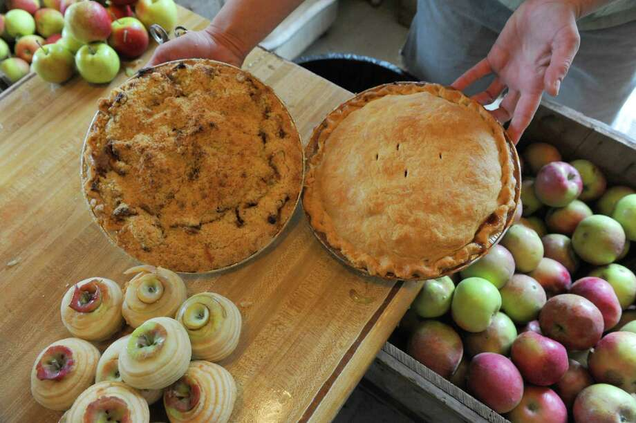 An apple crumb and classic apple pie at Mourningkill Farm on Friday Sept. 27, 2013 in Ballston Spa, N.Y. (Michael P. Farrell/Times Union) Photo: Michael P. Farrell / 00024017A