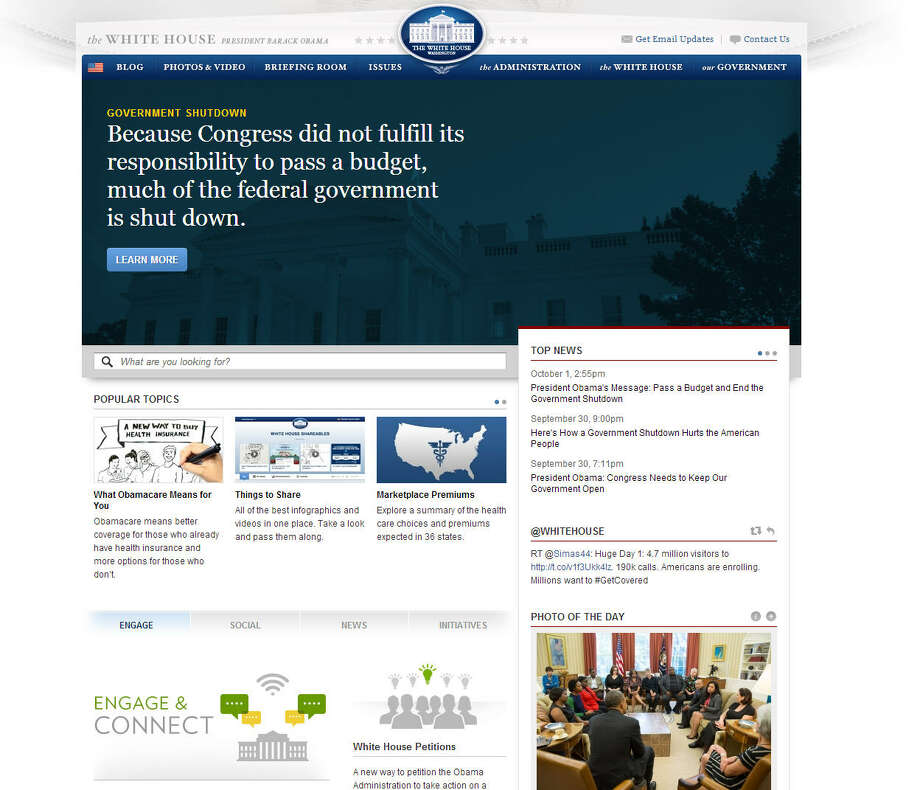 President Barack Obama and his staff aren't on furlough. The website is still up and running, including an impassioned plea to end the shutdown.Related: White House