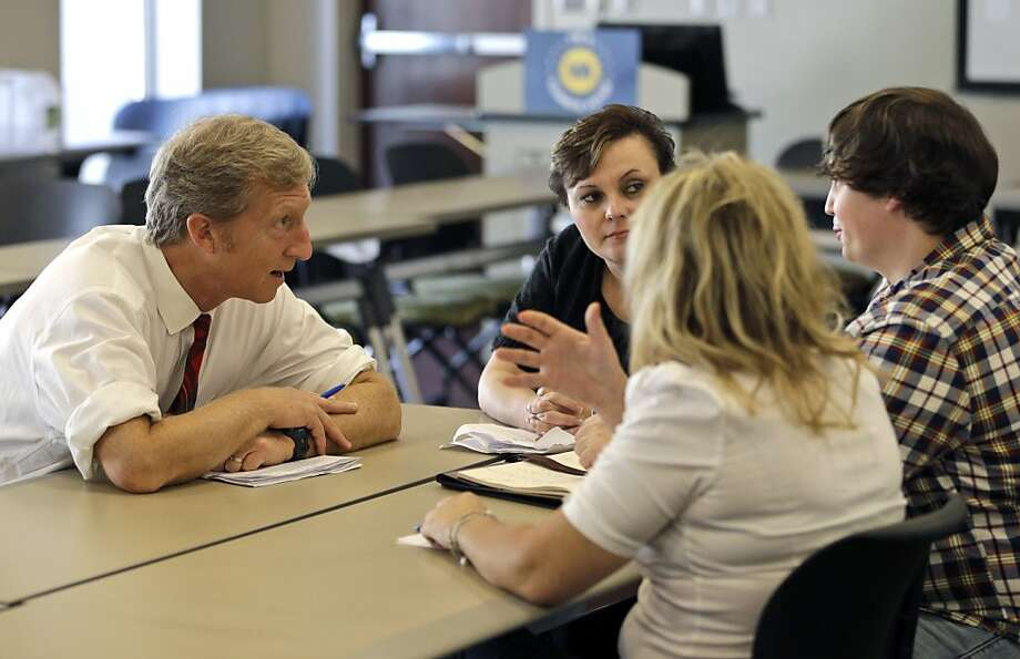 Tom Steyer's (left) climate change project is a joint effort with New York Mayor Michael Bloomberg. Photo: Steve Helber, Associated Press