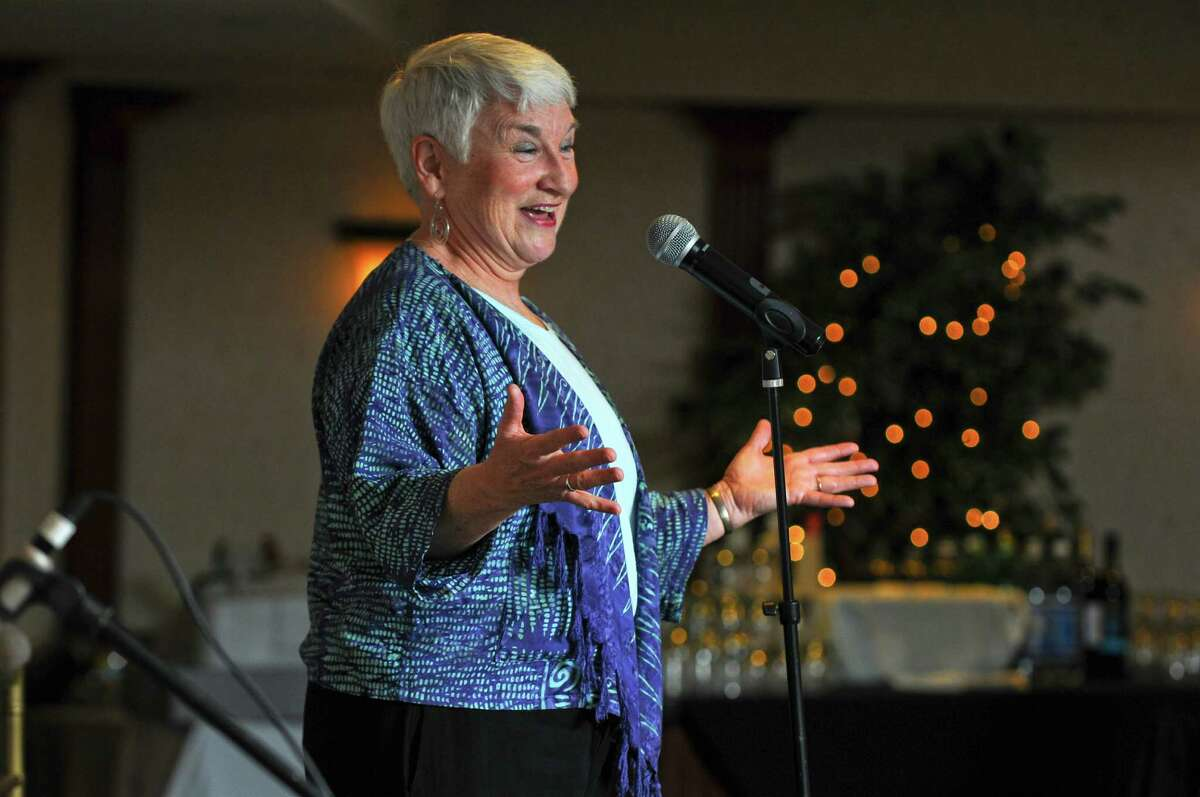 """Storyteller Marni Gillard performs at a """"Story Sunday Dinner"""" at the Glen Sanders Mansion on Sunday March 11, 2012 in Scotia, N.Y. (Philip Kamrass / Times Union )"""