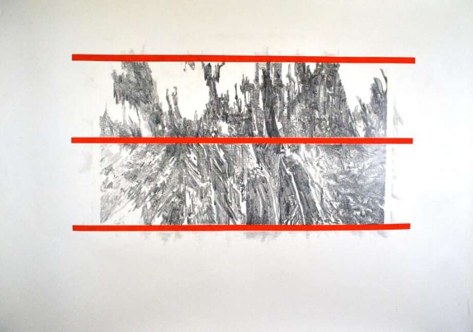 Iain Machell Terra Interruptus 2,  Graphite and acrylic on paper.  (Courtesy Hudson Valley Community College)