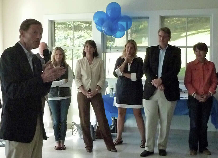 Darien Democrats listen to Sen. Richard Blumenthal at the Darien Democratic Town Committee Fall Fundraiser at Weed Beech on Sept. 22. From left, Blumenthal, Board of Education member Katie Stein; Board of Education nominees Callie Sullivan and Shannon Silsby; Board of Selectmen member David Bayne and Board of Finance member Martha Banks. Photo: Contributed Photo