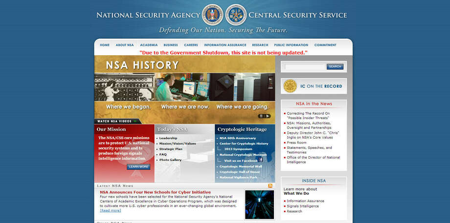 The NSA website hasn't gone dark, but it's not being updated either.Related: NSA
