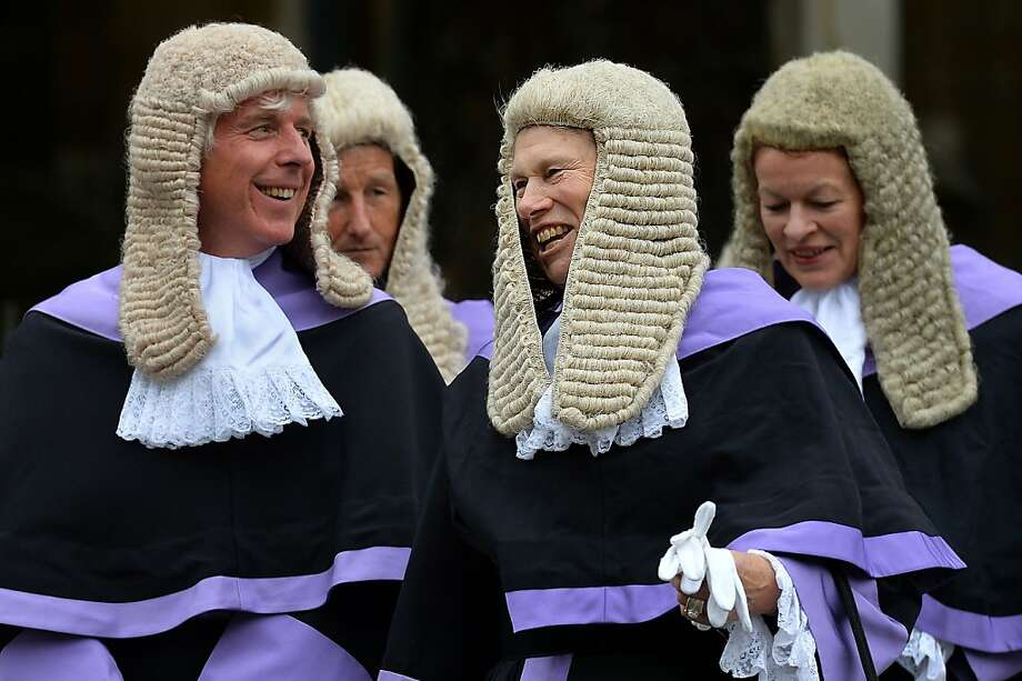The big wigs of British justice:A procession of judges to Westminster Abbey in London marks the beginning of the legal year in England and Wales. Photo: Ben Stansall, AFP/Getty Images