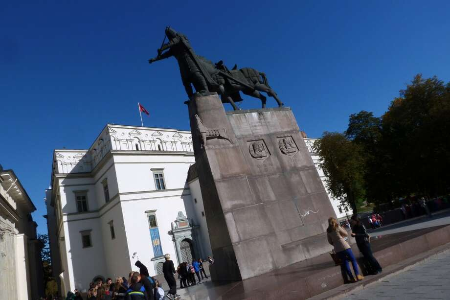 Statue of Grand Duke Gediminas looms in front of the Palace of the Grand Dukes of Lithuania, a museum in Vilnius. Photo: Spud Hilton, Bad Latitude