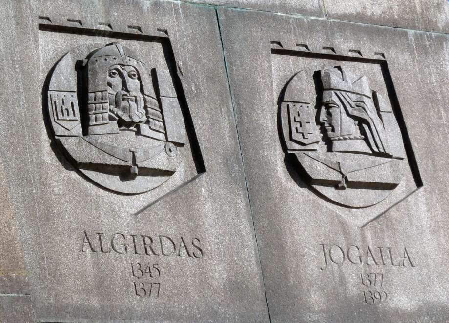 Close up of reliefs from the side of the Grand Duke Gediminas statue showing other Lithuanian grand dukes. Photo: Spud Hilton, Bad Latitude
