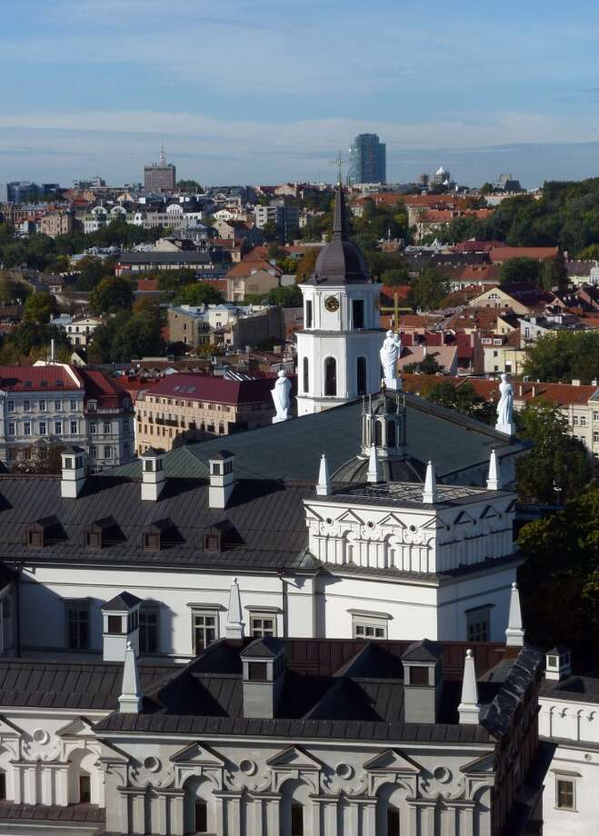 View of the Palace of the Grand Dukes of Lithuania and the Cathedral from the top of Castle Hill. Photo: Spud Hilton, Bad Latitude
