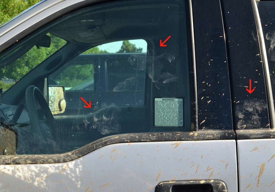 Smudges on a window could provide Bigfoot DNA, according to some believers. Photo: Sanger Paranormal Society