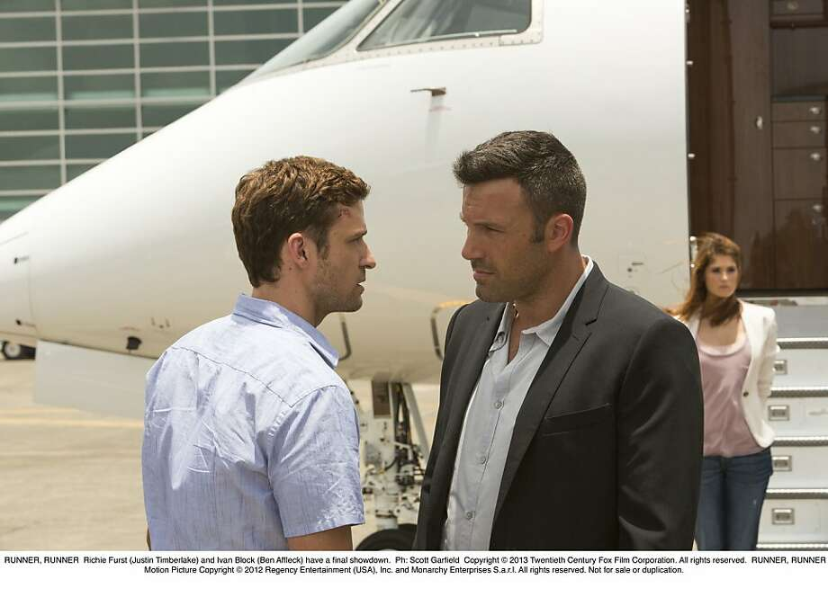 "Math whiz Richie Furst (Justin Timberlake, left) tangles with online gambling kingpin Ivan Block (Ben Affleck) in ""Runner Runner."" Photo: Scott Garfield, Twentieth Century Fox"
