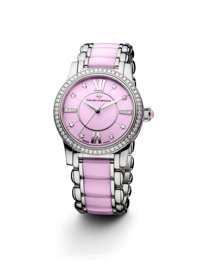IT'S ALL IN THE WRISTThis month, 20 percent of the purchase price of theDavid Yurmanspecial-edition pink ceramic Classic timepiece will be donated to the Breast Cancer Research Foundation; $7,200 at David Yurman in the Galleria.