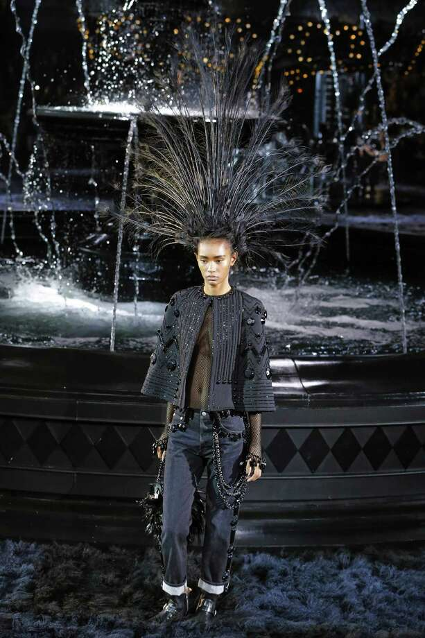 Marc Jacobs' final collection for Louis Vuitton was a study in black. Photo: Jacques Brinon, STF / AP