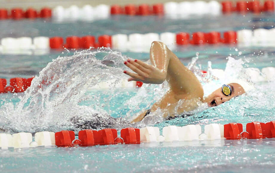 Christina Frias of Greenwich competes in the 200 freestyle event that she won during the girls high school swim meet between Greenwich High School and Darien High School at Greenwich, Wednesday, Oct. 2, 2013. Photo: Bob Luckey / Greenwich Time