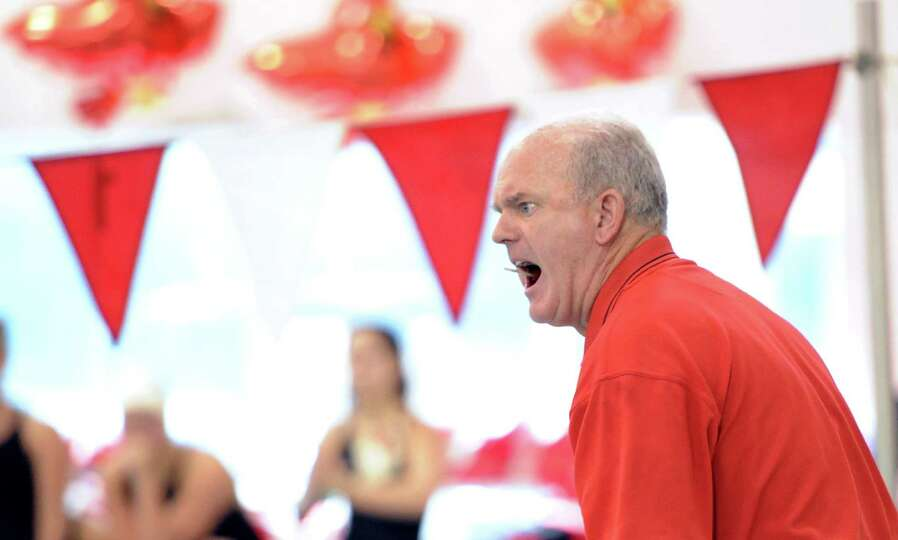 Greenwich High School girls swim coach Dick Hawks during the meet between Greenwich High School and