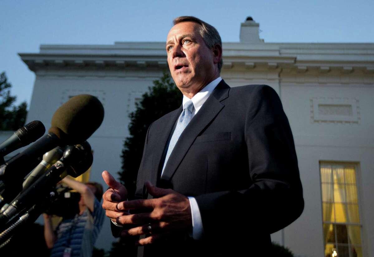 House Speaker John Boehner, R-Ohio, speaks to reporters following a meeting with President Barack Obama at the White House in Washington, Wednesday, Oct. 2, 2013. (AP Photo/Manuel Balce Ceneta)