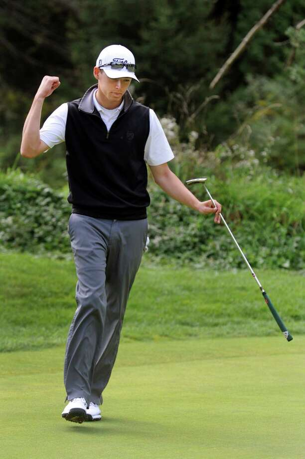 Hudson Falls' Wyatt Gorham celebrates sinking a birdie on the seventh hold during the Section II Class B golf championship on Wednesday, Oct. 2, 2013, at the Ballston Spa Country Club in Ballston Spa, N.Y. (Cindy Schultz / Times Union) Photo: Cindy Schultz / 00024043B