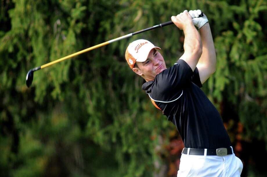 Schuylerville's Ian Delaney drives off the fifth tee during the Section II Class B golf championship on Wednesday, Oct. 2, 2013, at the Ballston Spa Country Club in Ballston Spa, N.Y. (Cindy Schultz / Times Union) Photo: Cindy Schultz / 00024043B