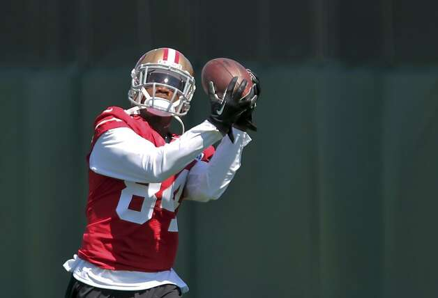 Jon Baldwin catches a pass during training camp practice for the San    Jon Baldwin 49ers