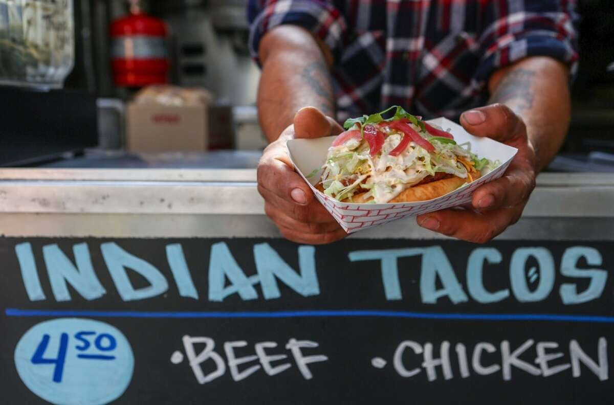 A beef india taco on toasted bread from Off the Rez.
