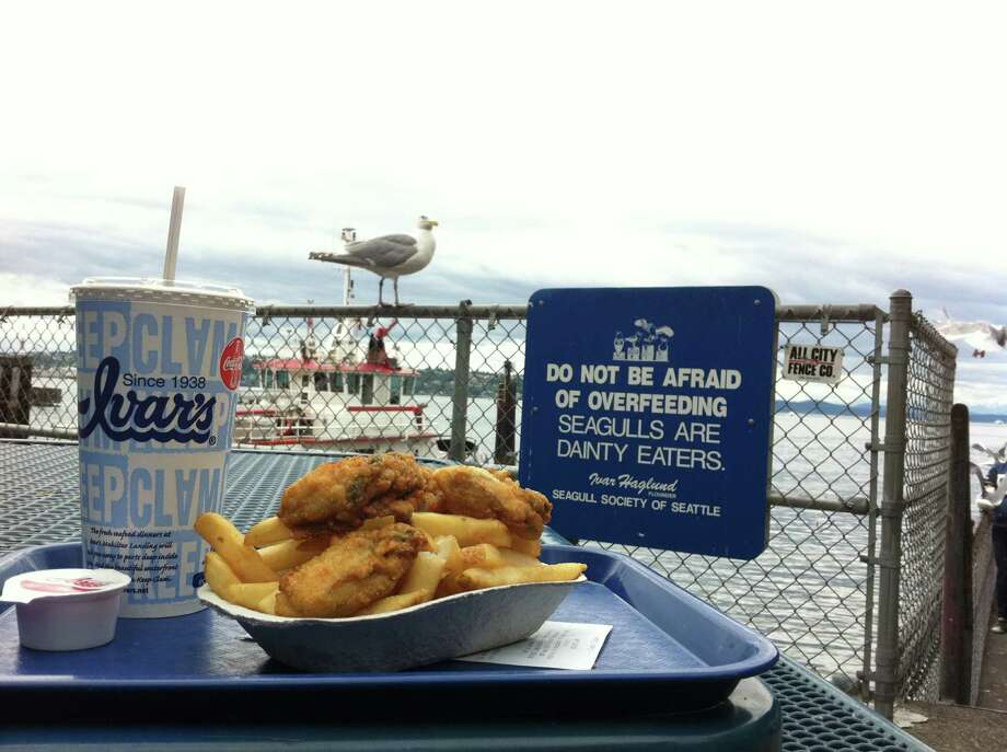 1. Ivar's: Many people love this local, kitschy chain, but do the fish and chips taste better when you share them with the gulls? Many locations to choose from. Photo: Seattlepi.com