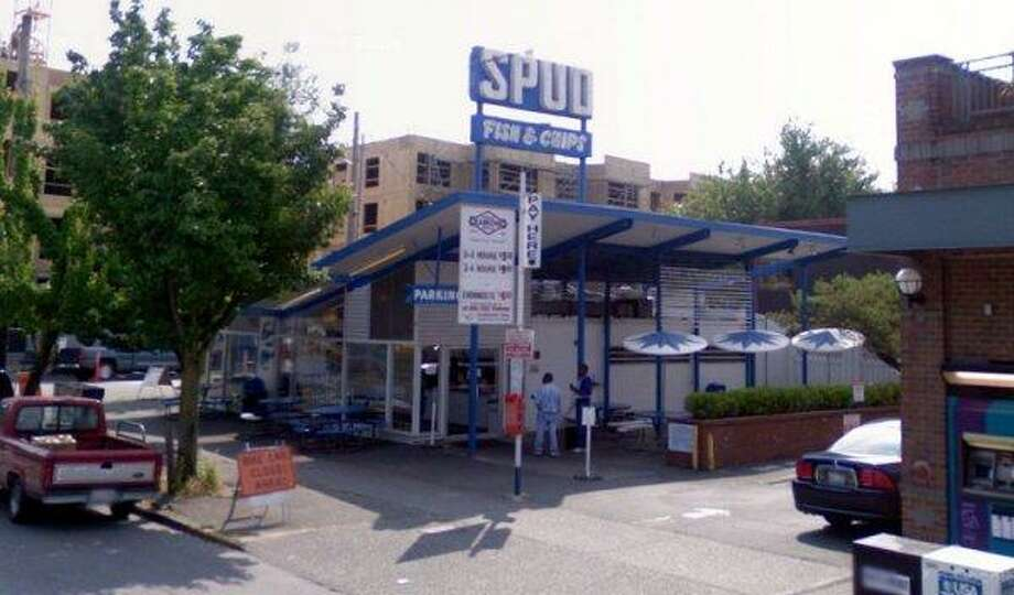 2. Spud: This chain, in Alki and Green Lake, also got a lot of votes. To-go orders come wrapped in paper and a rubber band, a nice nod to when fish and chips came bound in newspaper. Photo: Google Street View
