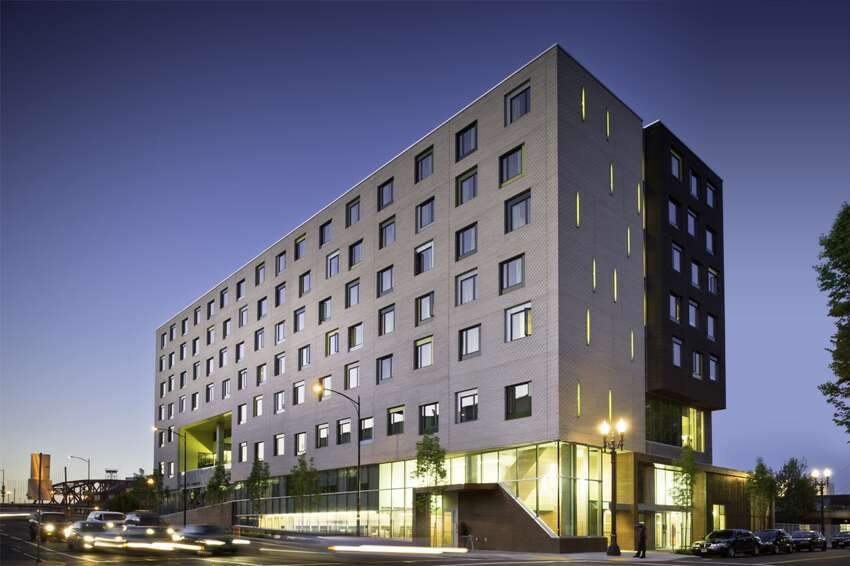 2. Bud Clark Commons, Portland, Oregon -- The commons offer 130 studio apartments for homeless men and women, and a 90-bed transitional shelter for men who can't quite afford an apartment. A resource center offers a variety of services to men and women for their bodies and minds.