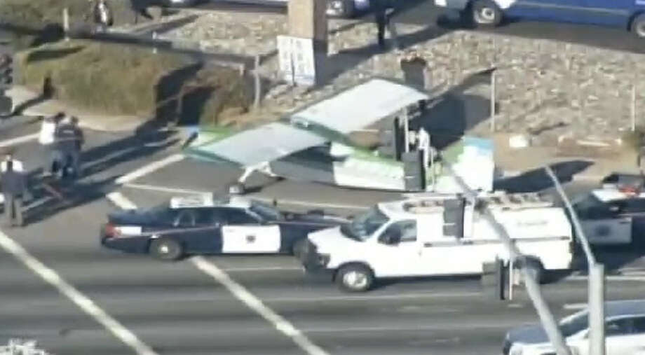 A small plane landed on Capitol Expressway at Quimby Road in East San Jose Thursday. Photo: CBS San Francisco