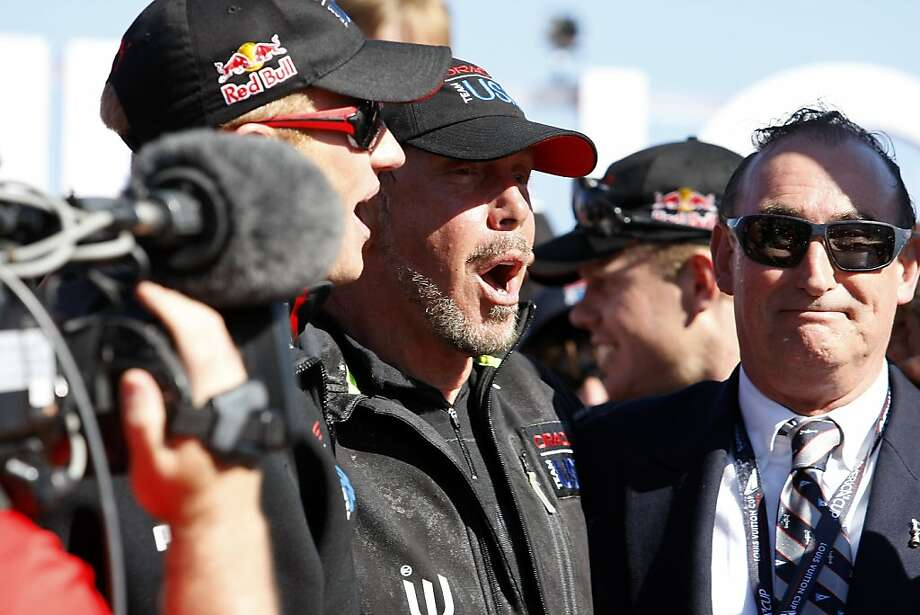 Oracle Team USA skipper Jimmy Spithill (left), Oracle CEO Larry Ellison and yacht club Commodore Norbert Bajurin honored at the Cup awards ceremony. Photo: Michael Short, The Chronicle
