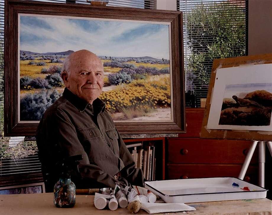 Robert C. Stebbins in his Kensington studio in 2004. Photo: Charles Brown, Museum Of Vertebrate Zoology Arc