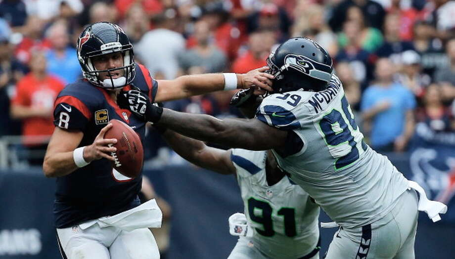 "Q: What was your impression of Seattle's pass-rush against the Texans?  ""Scary. It it scary. I was talking to (linebacker) Bobby Wagner, saying y'all don't even need me in. Every time I looked up, (Houston QB) Matt Schaub was on the ground. I think Coach does a great -- (defensive coordinator) Dan Quinn and the whole defensive staff does a great job of putting guys in the right situations to succeed. With (defensive ends) Cliff Avril, Chris Clemons and Mike Bennett, that's scary, man. They said it's hard to make plays on this defense, so I'm just trying to get out there and bust my tail, and make the best of the situation when I'm in."" Photo: Scott Halleran, Getty Images / 2013 Getty Images"