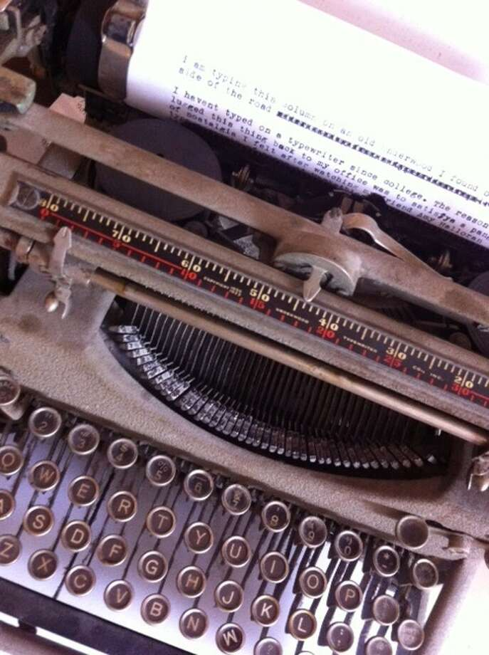 Freelance writer tapped out the first draft of her column on this Underwood typewriter, she'd rescued from the curb. It comes without Google, and she finds that refreshing. (Donna Liquori)