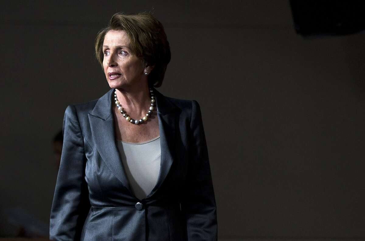 House Minority Leader Nancy Pelosi of Calif. arrives for a news conference about the ongoing budget fight, Thursday, Oct. 3, 2013, on Hill Capitol Hill in Washington. The government limped into a third day of partial shutdown Thursday with no sign of a way out after a White House conversation between President Barack Obama and top congressional leaders seemed only to harden the stances of Democrats and Republicans. (AP Photo/ Evan Vucci)