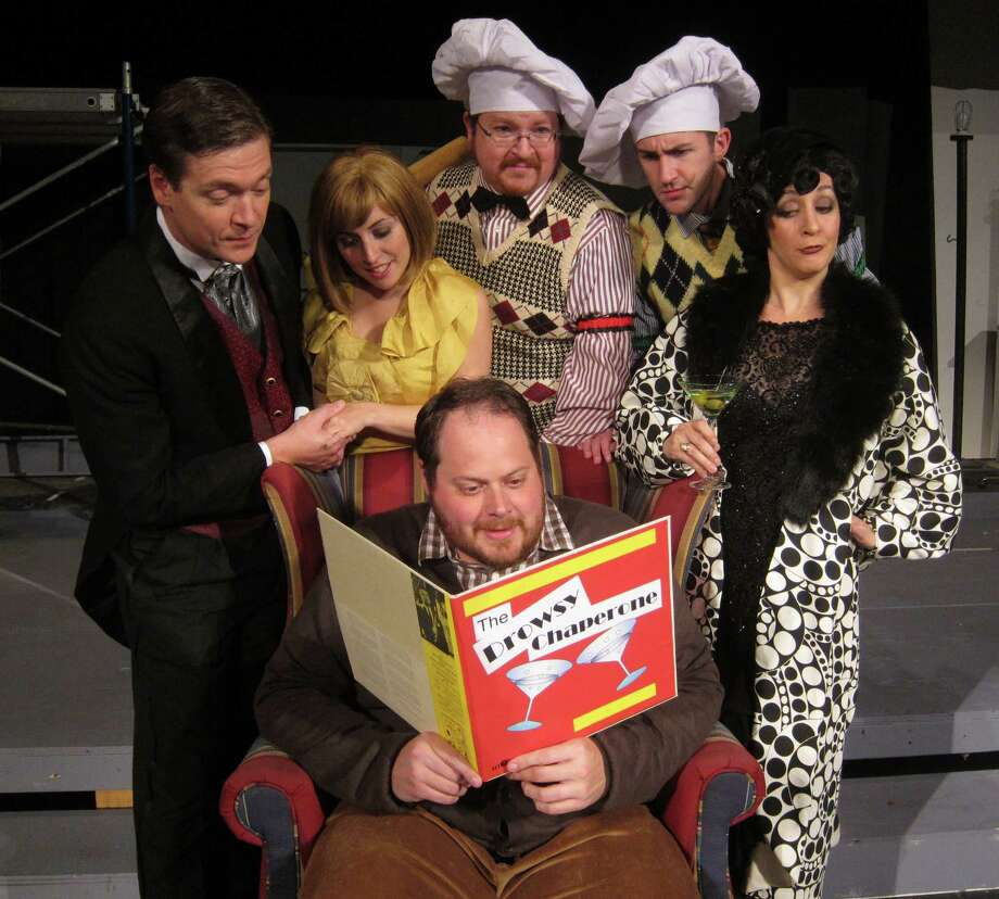 "Robert Martin (Richard Jones), Janet Van De Graaff (Christine Meglino), Gangsters (Chris Cucinella & Nik Gatzendorfer), The Drowsy Chaperone (Lesley O'Donnell), Man in Chair (JJ Buechner) in Home Made Theater's ""The Drowsy Chaperone,"" weekends October 11 through the 27, 2013. (Courtesy HMT)"