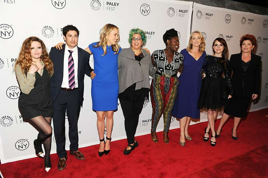 "Cast and crew of ""Orange Is the New Black"": Natasha Lyonne (left), Jason Biggs, Taylor Schilling, TV show creator Jenji Kohan, Danielle Brooks, author Piper Kerman (whose memoir was turned into the hit show), Taryn Manning and Kate Mulgrew. Photo: Craig Barritt, Getty Images"