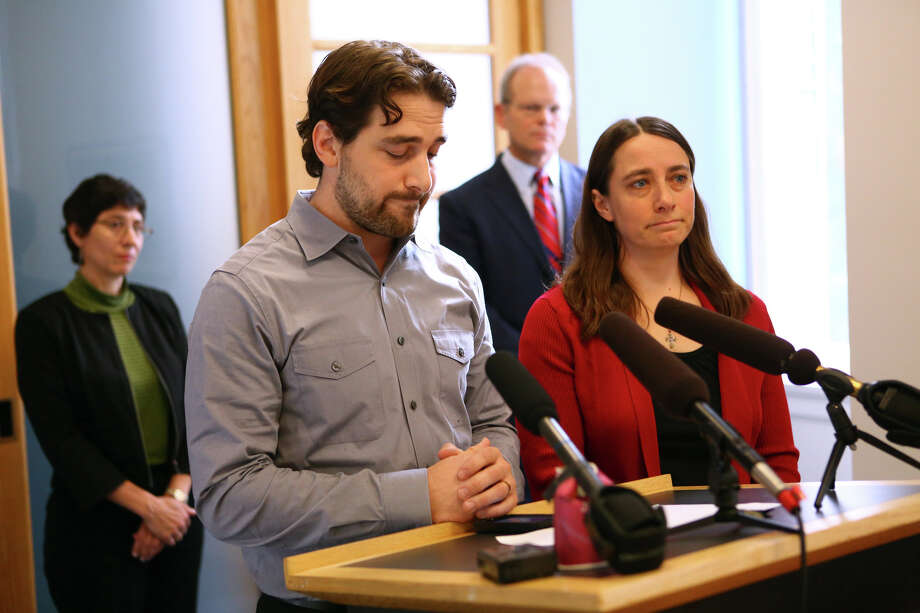 Siblings Dan and Marilyn Schulte speak to the press after Mark Mullan pleaded guilty to charges from killing their parents Judy and Dennis Schulte and seriously injuring Dan's wife Karina Ulriksen-Schulte and newborn baby Elias Schulte. Photo: JOSHUA TRUJILLO, SEATTLEPI.COM / SEATTLEPI.COM