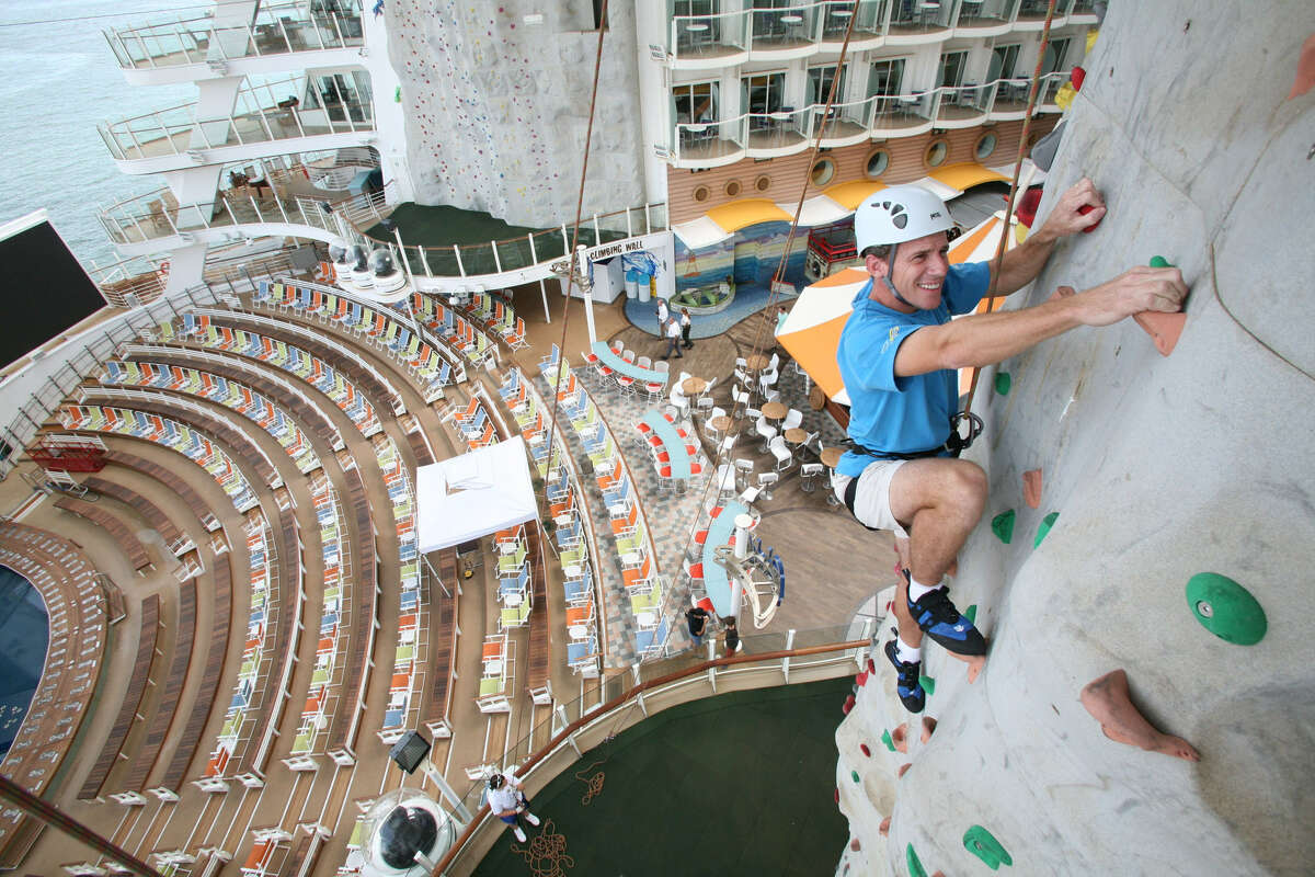 Royal Caribbean Oasis of the Sea features a rock wall that will give athletic cruise guests a challenge.